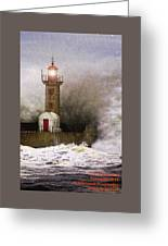Lighthouse Weathering A Storm At Sea H A Greeting Card