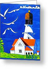 Lighthouse With Seagull Greeting Card