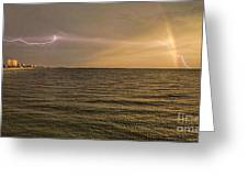 Lightning And Rainbow, Fort Myers Beach, Fl Greeting Card