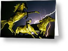 Lightning At Horse World Fine Art Print Greeting Card