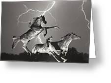 Lightning At Horse World Greeting Card