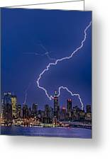 Lightning Bolts Over New York City Greeting Card
