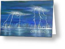 Lightning By The Lake Original Oil Painting Greeting Card