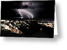 Lightning During A Thunderstorm On The Island Of Santorini, Greece Greeting Card