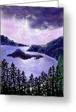 Lightning In Purple Clouds Greeting Card