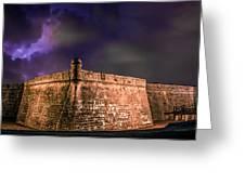 Lightning Over Castillo De San Marcos National Monument Greeting Card
