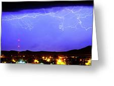 Lightning Over Loveland Colorado Foothills Panorama Greeting Card