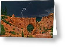 Lightning Over Natural Bridge Formation Bryce Canyon National Park Utah Greeting Card by Dave Welling