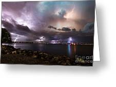 Lightning Over The Sanibel Bridge Greeting Card