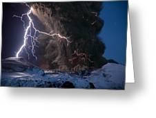 Lightning Pierces The Erupting Greeting Card by Sigurdur H Stefnisson