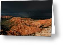 Lightning Rainbow Over Hoodoos Bryce Canyon National Park Utah Greeting Card