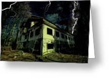 Lightnings On Abandoned Hotel On Liguria Mountains High Way - Fulmini Su Hotel Abbandonato Sull'av Greeting Card