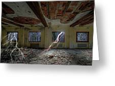 Lightnings On The Abandoned Hotel Of Liguria Mountains - Fulmini Su Hotel Abbandonato Sull'av Greeting Card