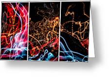 Lightpainting Triptych Wall Art Print Photograph 5 Greeting Card