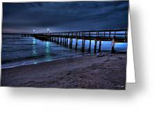 Lights At The End Of The Pier Greeting Card