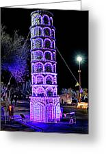 Lights Of The World Leaning Tower Of Pisa Greeting Card