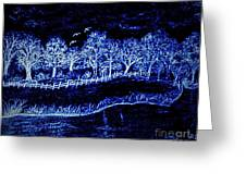 Lights On The Farm's Pond At Night Greeting Card