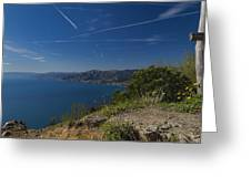 Liguria Paradise Gulf Panorama With Yellow Flowers Greeting Card