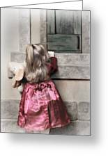 Liitle Girl In Red Greeting Card