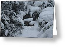 A Snowy Secret Garden Greeting Card