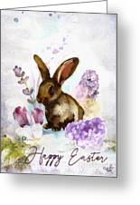 Lilac And Bunny Greeting Card