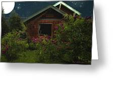 Lilac Cottage By Moonlight Greeting Card