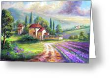 Lilac Fields In The Italian Countryside   Greeting Card