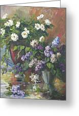 Lilacs And Asters Greeting Card by Tigran Ghulyan