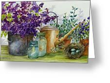 Lilacs And Ball Jars Greeting Card