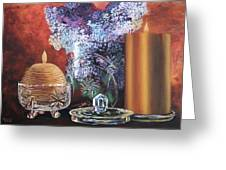 Lilacs And Candles Greeting Card