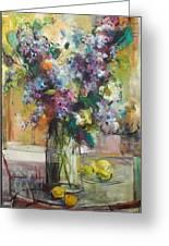 Lilacs And Lemons Greeting Card