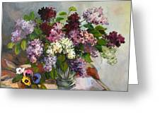 Lilacs And Pansies Greeting Card