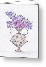 Lilacs In An Urn Greeting Card by Christine Corretti