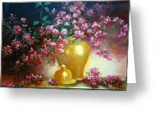 Lilacs In Gold Vase Greeting Card
