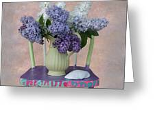 Lilacs With Chair And Shell Greeting Card
