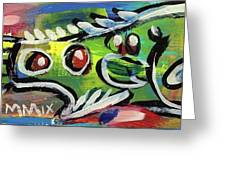 Lil'funky Folk Fish Number Thirteen Greeting Card by Robert Wolverton Jr