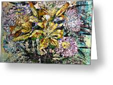 Lilies And Chrysanthemums.1999 Greeting Card
