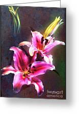 Lilies At Night Greeting Card