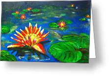 Lilies By The Pond Greeting Card
