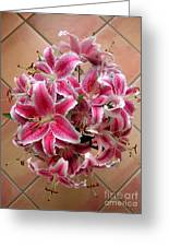 Lilies Gathered On Tile Greeting Card