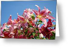 Lilies Pink Lily Flowers Art Prints Floral Summer Garden Baslee Troutman Greeting Card