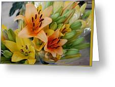 Lillies - Peach And Yellow Colors Greeting Card