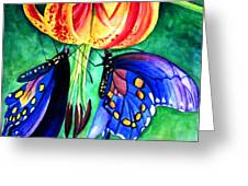 Lily And The Butterflies Greeting Card
