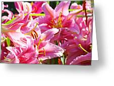 Lily Garden Floral Art Prints Pink Lilies Baslee Troutman Greeting Card