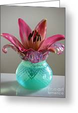 Lily In Antique Vase Greeting Card