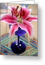 Lily On A Painted Table Greeting Card