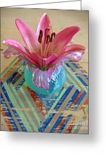 Lily On A Painted Table Too Greeting Card