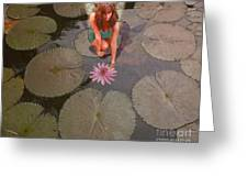 Lilypad Fairy Greeting Card by Patricia Ridlon
