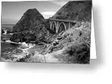 Lime Creek Bridge Highway 1 Big Sur Ca B And W Greeting Card