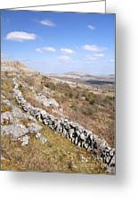 Limestone Pavements And Dry-stone Walls, Fahee North, Burren, County Clare, Ireland Greeting Card